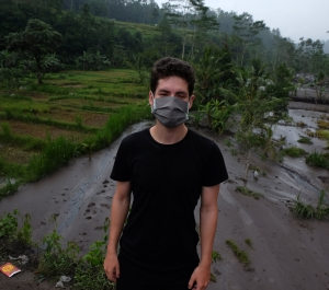 cute boy medical mask volcano bali mount agung