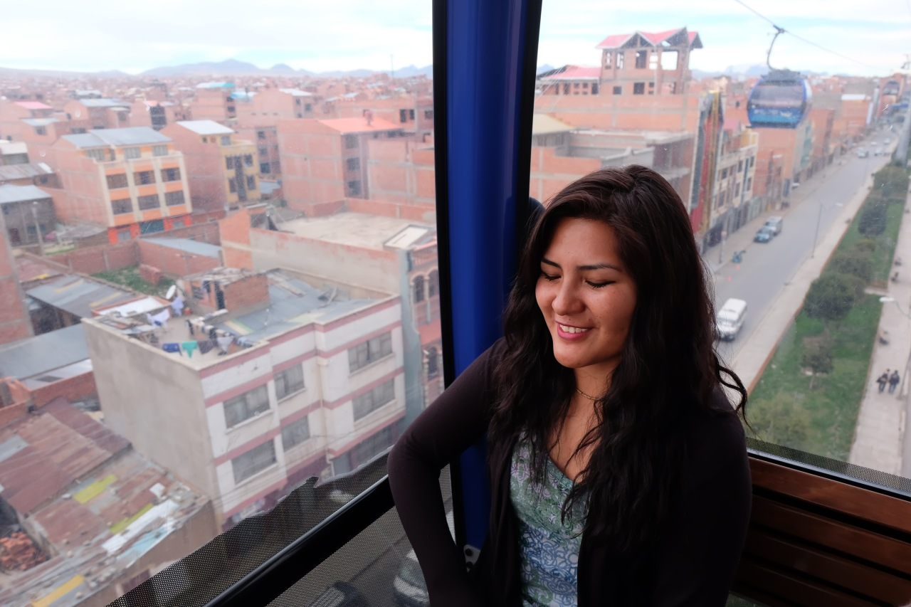 Girl Riding Mi Teleférico La Paz Bolivia Cable Car System