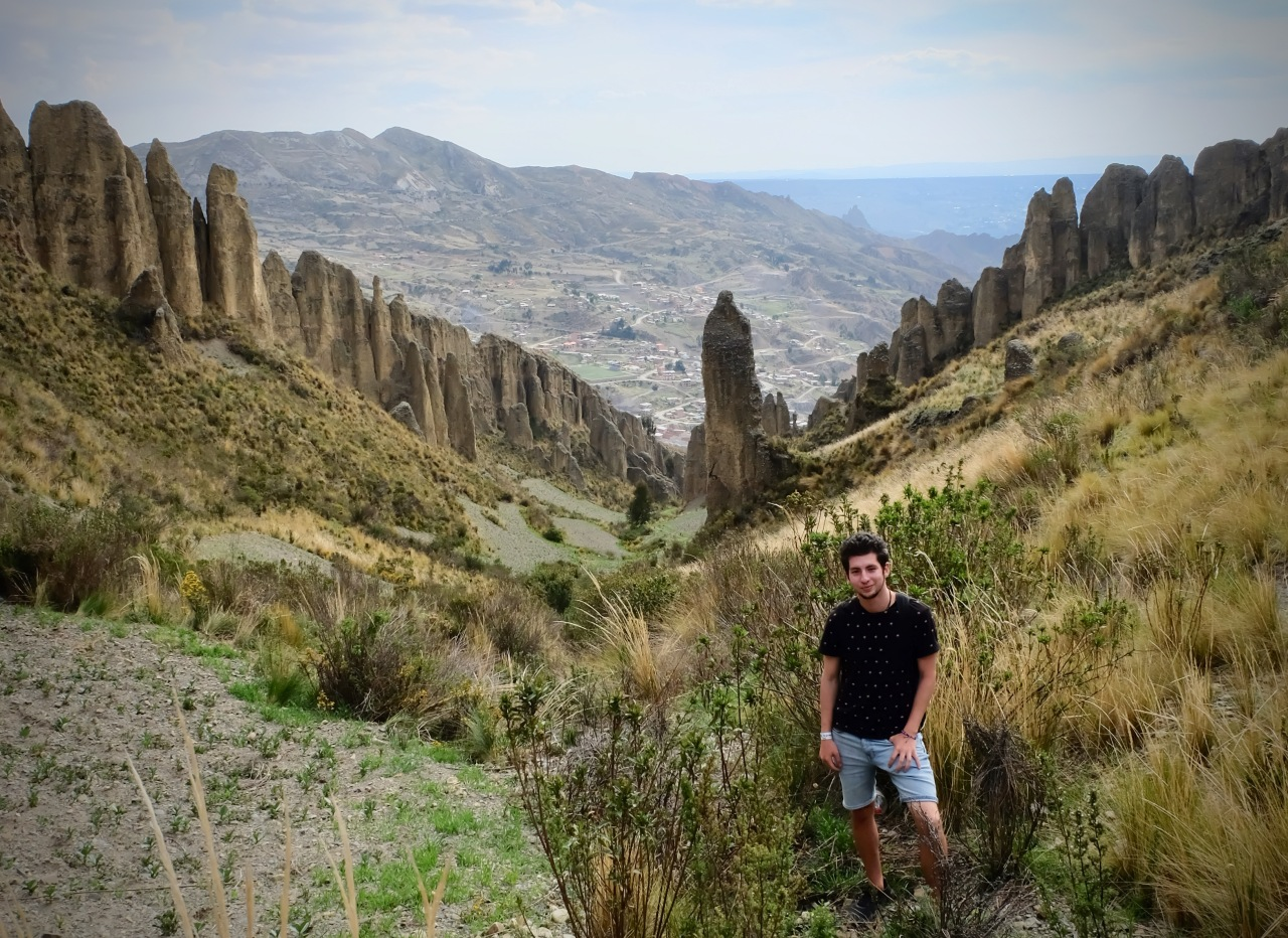Boy standing in el Valle de las animas in La Paz Bolivia
