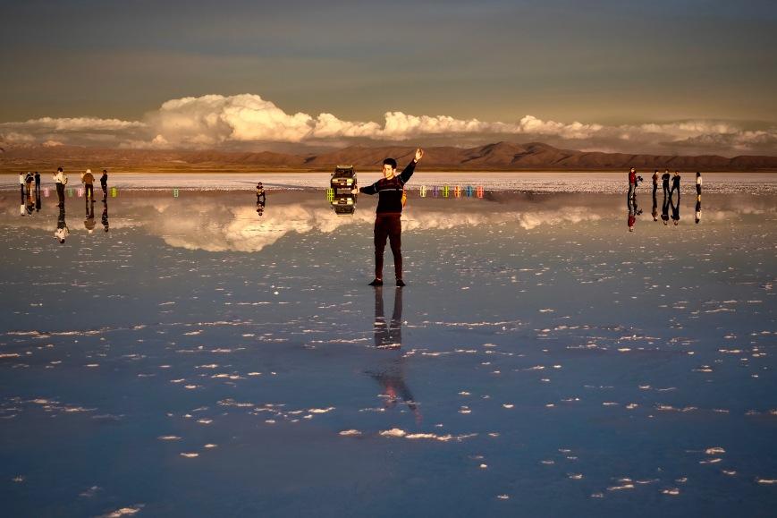 Espejo Uyuni Bolivia at sunset